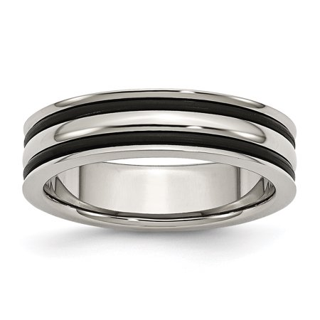 Stainless Steel 6mm Grooved and Black Rubber Band Ring 6 to 13 Size