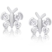 63ed1d999 Molly and Emma Sterling Silver Cubic Zirconia Butterfly Stud Earrings