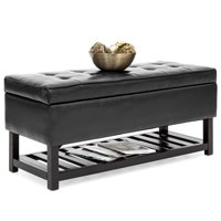 Best Choice Products Tufted PU Leather Storage Ottoman Stool Seat Bench w/ Safety Hinges, Open Bottom Shelf for Shoe Rack, Entryway, Living Room - Black
