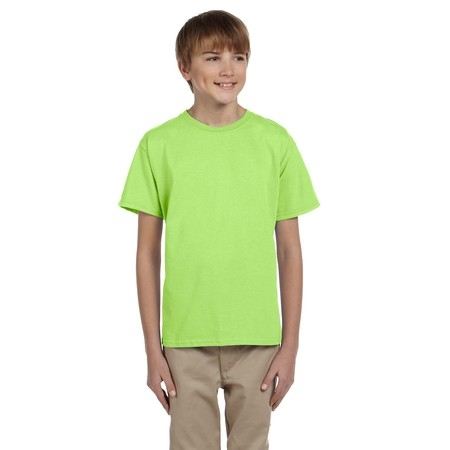 Neon Logo Heathered T-shirt - Fruit Of The Loom Tee Shirt 3931B Youth 5.6 oz Heavy Cotton