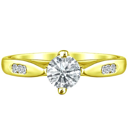 Round Natural Diamond Solitaire 4 Prong Engagement Ring Solid 14k Yellow Gold