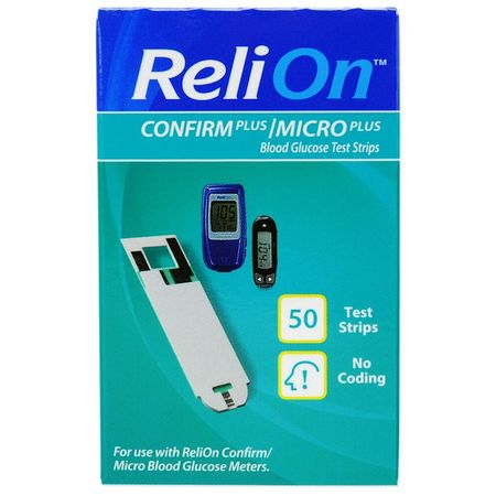 ReliOn Confirm Micro Blood Glucose Test Strips, 50