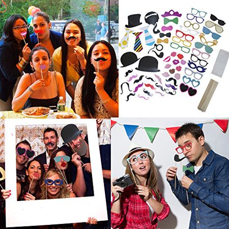 58 Piece Photo Booth Props DIY Kit Party Favor Dress Up Accessories For Parties, Weddings, Reunions, Birthdays, Bridal Showers. Costumes With Hats, Lips, Mustache, Glasses, Bows And More On Sticks. - Photo Booth Props Party City