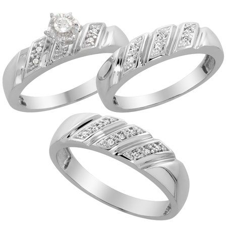 Sterling Silver 3-Piece Trio His (6mm) & Hers (5mm) Diamond Wedding Band Set, w/ 0.15 Carat Brilliant Cut Diamonds; (Ladies Size 5 to10; Men