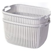 Plastic Wicker Basket Grey Large Set Of 2