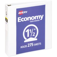 """Avery 1-1/2"""" Economy View Binder, Round Rings, White, 275 Sheets"""