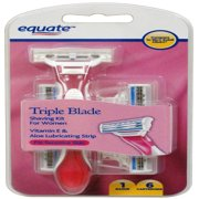 Equate Women's 3 Blade Disposable Shave Kit with 6 Refill Cartridges