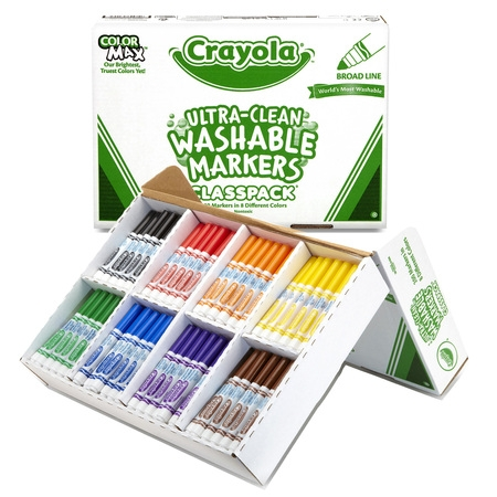 Crayola Ultra-Clean Washable Markers Classpack, Broad Line, 8 Colors, Pack Of 200 (Crayola Broad Line)