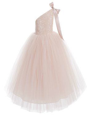 One-Shoulder Sequin Tutu Flower Girl Dresses Wedding Pageant Dress Tutu Dress Communion Dresses 182