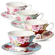 8299ae18076 Tea / Coffee Cups and Saucers, Set of 4 (8 piece, 4 cups