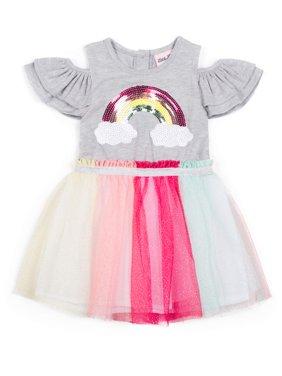 Short Sleeve Jersey & Rainbow Sparkle Tutu Dress (Baby Girls & Toddler Girls)