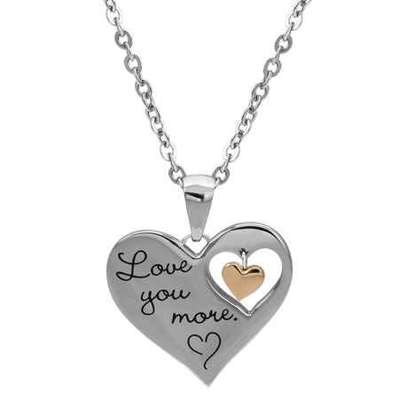 Dangling Stainless Steel Cross (Stainless Steel I Love You More Dangle Heart Pendant, 18 )