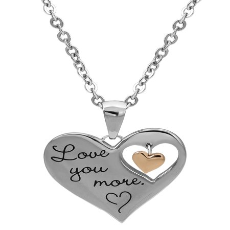 Stainless Steel I Love You More Dangle Heart Pendant, (Inspired Heart Necklace)