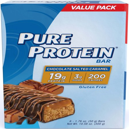 - Pure Protein Bar, Chocolate Salted Caramel, 19g Protein, 6 Ct