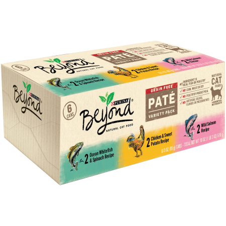 Purina Beyond Grain Free, Natural Pate Wet Cat Food, Grain Free Pate Variety Pack - (6) 3 oz. - Cat 6 Gbits Crossover
