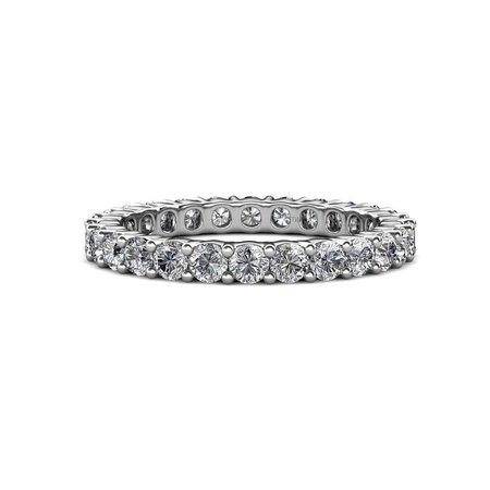 TriJewels Round Lab Grown Diamond Womens Common Prong Eternity Ring Stackable (SI, G-H) 3.20 ctw to 3.80 ctw 14K White Gold.size 4.75