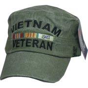edd8f5f383b06 Eagle Crest Vietnam Veteran Tonal Washed Mens Flat Top Cadet Cap  Olive  Drab Green -