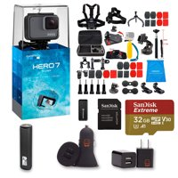 GoPro HERO 7 Silver Action Camera + 47 Piece Accessory Kit + 32gb Extreme Micro SD + Card Reader + PowerBank + Dual USB