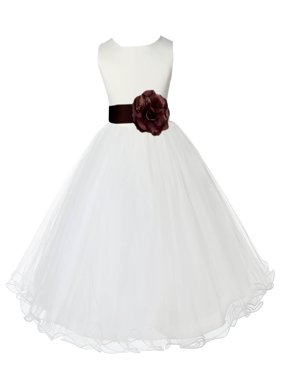 Ekidsbridal Ivory Satin Tulle Rattail Edge Flower Girl Dress Bridesmaid Wedding Pageant Toddler Recital Easter Holiday Communion Birthday Baptism Occasions 829S