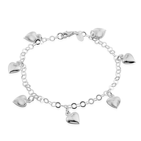 Number 7 Sterling Silver Charm - 925 Sterling Silver Diamond Cut Charms Ankle Bracelet for Women Jewelry Gift