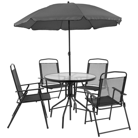Flash Furniture Nantucket 6 Piece Outdoor Patio Dining Set, Black ()