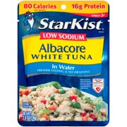 (3 Pack) StarKist Low Sodium White Albacore Tuna in Water, 2.6 Ounce Pouch