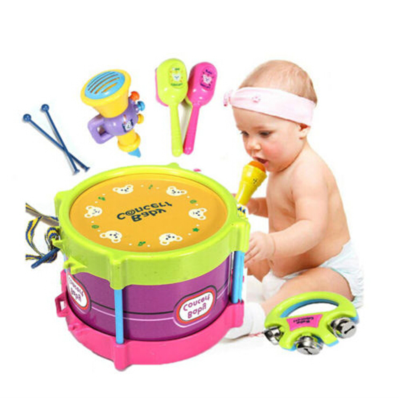 Baby Concert Toys 5PC New Roll Drum Musical Instruments Band Kit Unisex Colorful Educational Learning and for Boys\u0027 Age 2