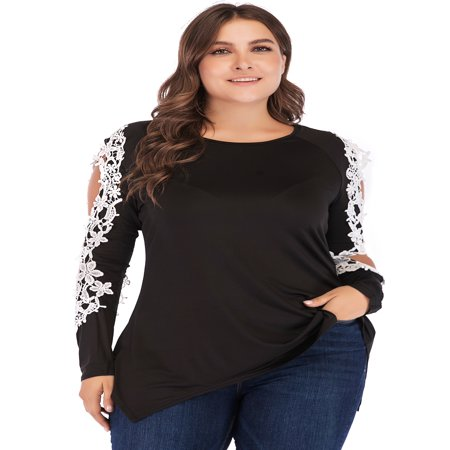 Plus Size Classic Lace Cold Shoulder Tunic Tops for Women Black Basic Round Neck Long Sleeve - Black Blouse