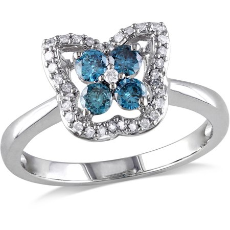 Blue Topaz Butterfly Ring - 1/2 Carat T.W. Blue and White Diamond 14kt White Gold Butterfly Ring