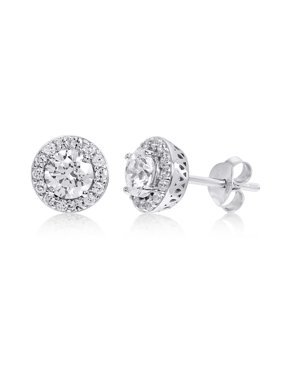 Halo Round Cubic Zirconia Stud Earrings made with Zirconia from Swarovski