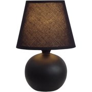 Simple Designs Mini Ceramic Globe Table Lamp, Black