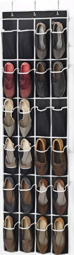 ZB Brand Over the Door Shoe Organizer - 24 Breathable Pockets, Hanging Shoe Holder for Maximizing Shoe Storage, Accessories, Toiletries, Laundry Items. 64in x 18in