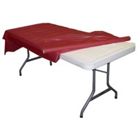 Exquisite 300 ft. x 40 in. Red Plastic Tablecloth Rolls - Red Banquet Table Cover Rolls Disposable