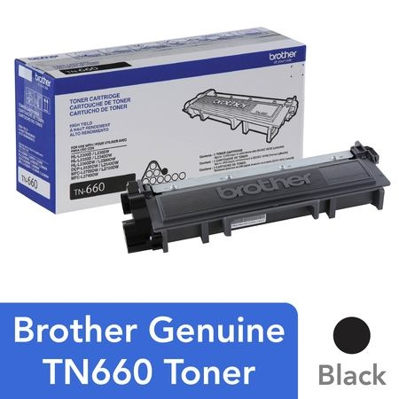 Brother Genuine High Yield Toner Cartridge, TN660, Replacement Black Toner, Page Yield Up To 2,600 (2660b001 Toner)
