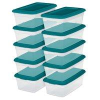 Sterilite 6 Qt./5.7 L Storage Boxes, Teal Sachet (Set of 10)