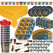 Harry Potter Themed Party Supplies, Decorations & Favors - 16 Guest - Small & Large Plates, Cups, Napkins, Tablecover, Cutlery, Loot Bags, Glasses, Pen Brooms, Birthday Banner - Hogwarts Theme