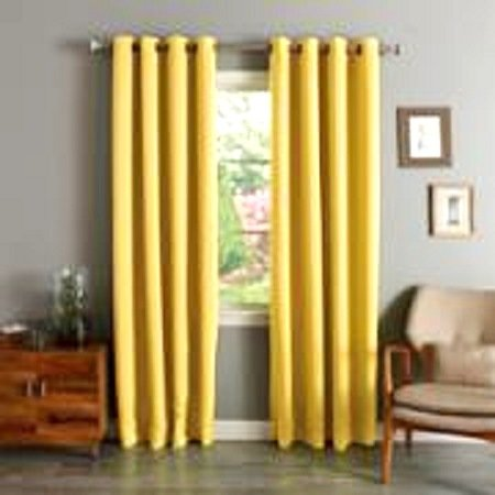 - (#72) 1 PANEL YELLOW SOLID THERMAL FOAM LINED BLACKOUT HEAVY THICK WINDOW CURTAIN DRAPES BRONZE GROMMETS 84