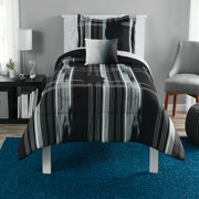 Mainstays Modern Plaid Black Bed in a Bag Bedding Set