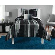 Mainstays Modern Plaid Black Bed in a Bag Bedding Set