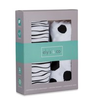 Bassinet Sheet Set 100% Jersey Cotton 2 Pack - Black Abstract Stripes and Dots