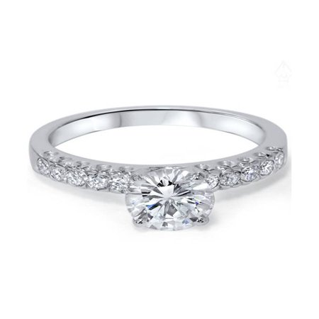 Pave Solitaire Ring (G/SI 1 3/8ct Pave  Diamond Solitaire Engagement Ring 14K White Gold)