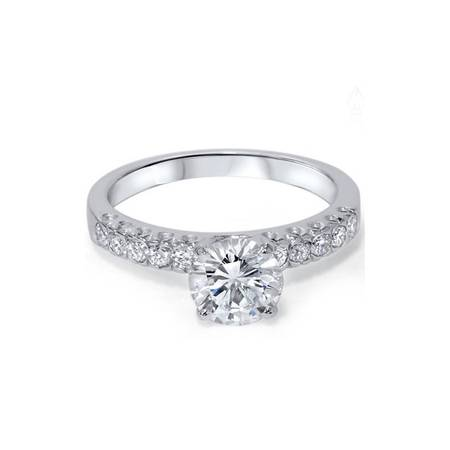 G/SI 1 3/8ct Pave  Diamond Solitaire Engagement Ring 14K White Gold