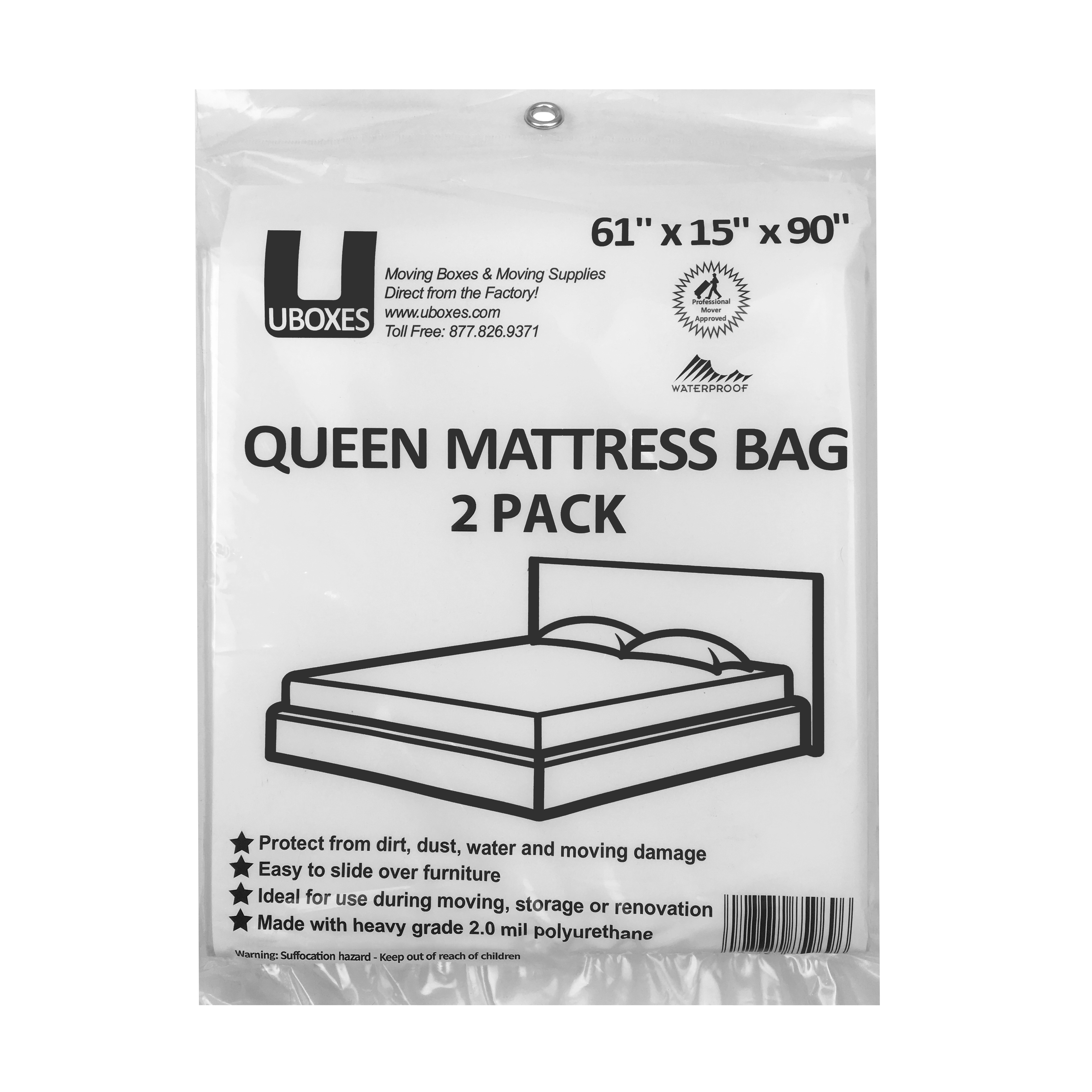 Incroyable Uboxes Queen Mattress Poly Covers, 61 X 15 X 90 In, 2 Pack