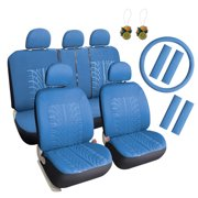 separation shoes c90b6 e78ed Leader Accessories 17 pcs Auto Universal Embossed Cloth Car Seat Cover Full  Set Front + Rear