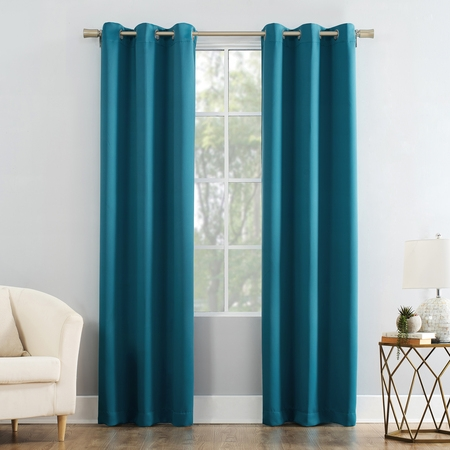 Hang Drapery Panels (Mainstays Blackout Energy Efficient Grommet Single Curtain)