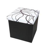 Otto & Ben 15 Inch Swirl Design Memory Foam Folding Storage Ottoman Bench with Faux Leather