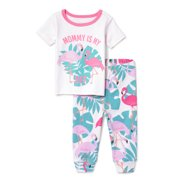 443f78694d Baby And Toddler Girls 'Mommy Is My BFF' Flamingo Printed 2-Piece Snug