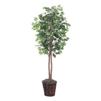 Vickerman 6' Artificial Ficus Tree in Brown Rattan Basket