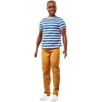 Barbie Fashionistas Ken Doll Wearing Striped Top & Khaki Pants