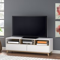 """Mainstays Mid-Century TV Stand for 70"""" Flat Panel TVs, White Finish"""
